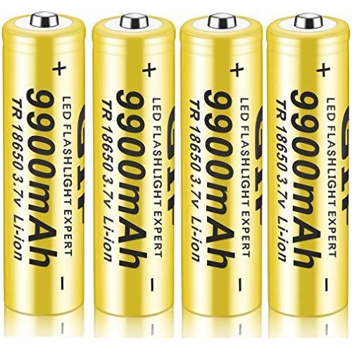 18650 Batería Recargable de Iones de Litio 3.7V 9900mah Baterías de botón de Gran Capacidad para Linterna LED, iluminación de Emergencia, Dispositivos electrónicos, etc. 4/8 Piezas (Amarillo) (4 pcs)