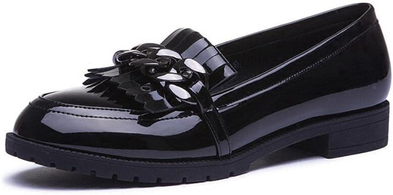 XZGC mit Retro Leder Quaste Lackleder Freizeitaktivitten Runden Kopf Schuhe Grob