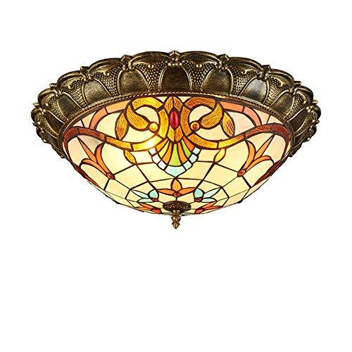 HHKQ Tiffany Art Deckenleuchte, European Barock Deckenleuchte für Wohnzimmer Schlafzimmer Esszimmer LED Vintage Deckenlicht mit Glasmalerei Lampenschirm,White light 42cm