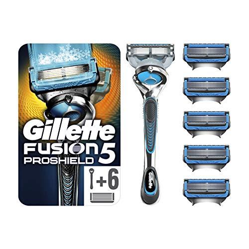Gillette Fusion5 ProShield Chill Rasierer, mit 6 Rasierklingen, Briefkastenfähige Verpackung