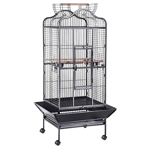 Yescom Large OpenTop Parrot Bird Cage DomeTop Play Top Vein Black Finch House