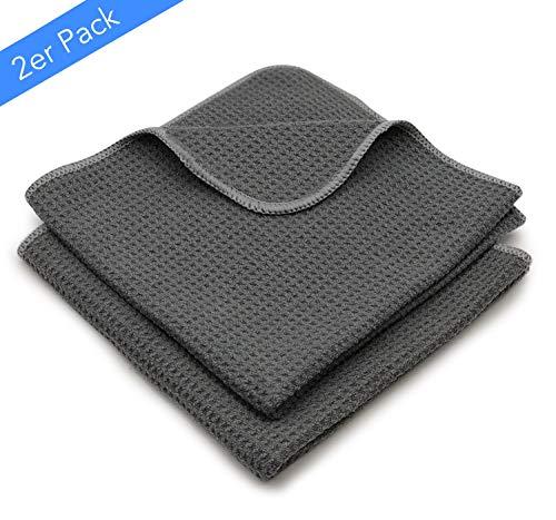 EliXito ® Premium Mikrofaser Trockentücher - Streifenfreie Mikrofasertücher Extrem Saugstark & Ultraweich 60x40cm - Fusselfreie Waffeltücher für Fenster, Glas, Küche & Auto, (2) Grau