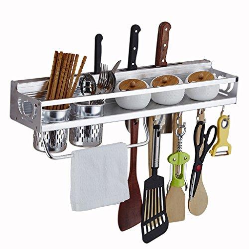 BOBE SHOP- Étagère de cuisine Étagère de rangement murale de cuisine Étagère à épices, espace aluminium, avec crochets, porte-serviette et baguettes Cuillère de rangement ( taille : L )