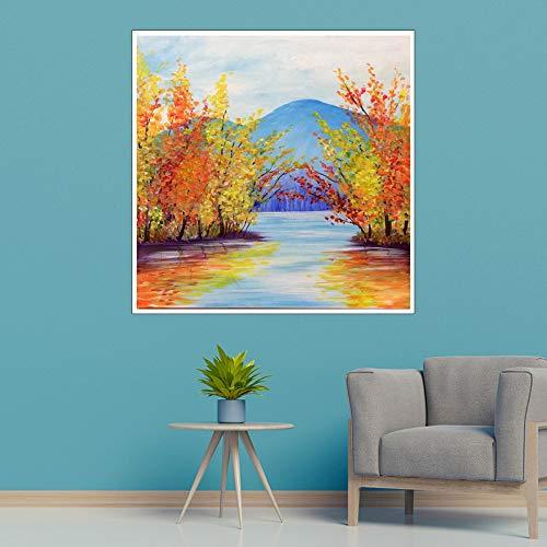 WSNDGWS Modern wandbehang kunst, palm, interieur, olieverfschilderij, geen fotolijst 50x50cm C4