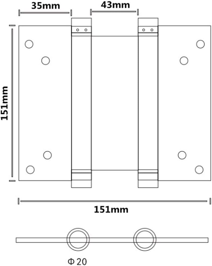 4 inch Pack of 2 Ranbo Commercial Grade 304 Stainless Steel Ball Bearing Heavy Duty Double Action Spring Loaded Door Swing Hinge,Automatic Closing//self Closer//Adjustable Tension 4 x 5 inch