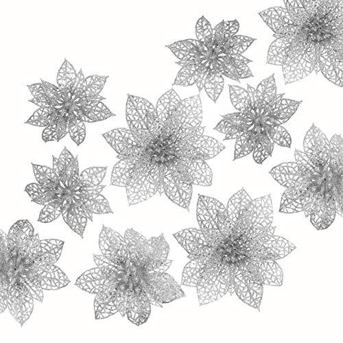 Naler 24-teilig Weihnachtsblumen Glitzer Blumen Weihnachten Deko Weihnachtsbaumschmuck Poinsettia für Weihnachtsbaum Adventskranz, Silber