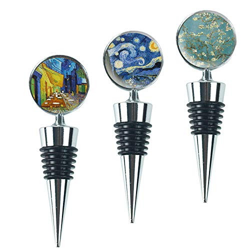 LIZIMANDU Wine Bottle Stoppers,Set of 3 Stainless Steel Wine Stoppers For Gifts, Bar, Holiday Party, Wedding(3-Van Gogh)