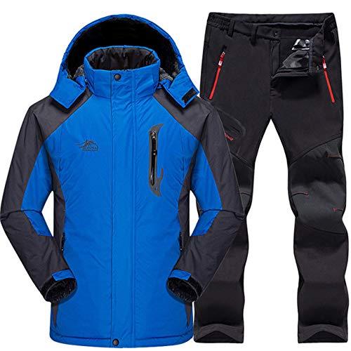AXIANNV Skianzug Herren Wasserdicht, Thermo Snowboard JackeHoseHerrenBerg Skifahren und Snowboarden Winter Schnee Kleidung Set, Blau, 4XL