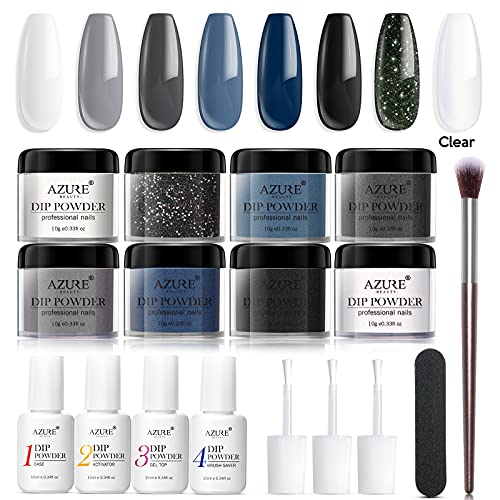 AZUREBEAUTY Gray Blue Glitter 8 Colors Dipping Powder Nail Starter Kit Acrylic Dipping Powder System Essential Kit for French Nail Manicure Nail Art Set