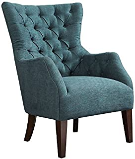Madison Park Button Tufted Wing Chair, see Below Below, Green
