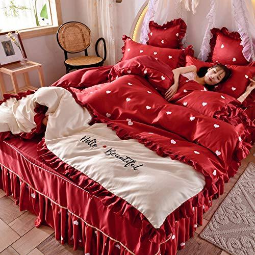 Chuanganja beddengoedset met zijdeachtige rok en sleep 1,8 m bed van gewassen zijde 4-delig Love Red White