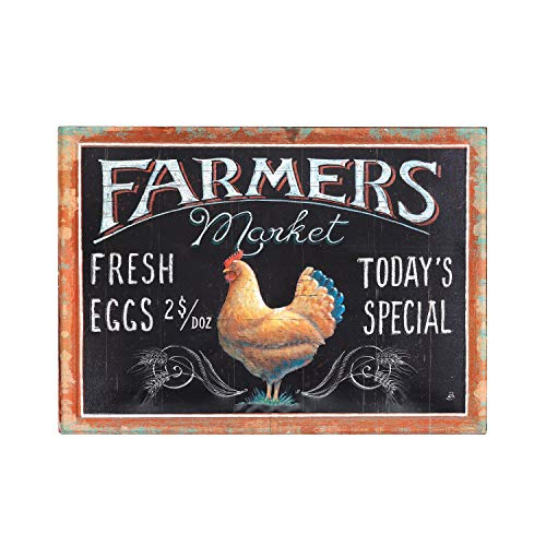 Creative Co-op Embossed Tin Farmers Market Wall Decor with Rooster Image