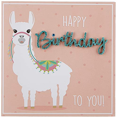 Geburtstagskarte Lettering - Happy Birthday, Lama - 15 x 15 cm