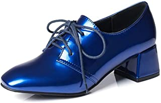 Bonrise Women's Lace Up Oxford Loafer Shoes Patent Leather Square Toe Mid Heel Brogues Dress Oxfords Pumps