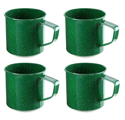 Darware Enamel Camping Coffee Mugs (Set of 4, 16oz, Green); Metal Cups for Hiking, Travel, Fishing, Picnics, Hunting and Outdoor Use; Lightweight and Portable