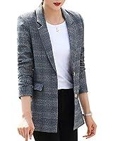 Women's Plaid Formal Blazers Jackets Double Button Office Lady Jackets Long Sleeve Work Blazers for Women Business Jackets