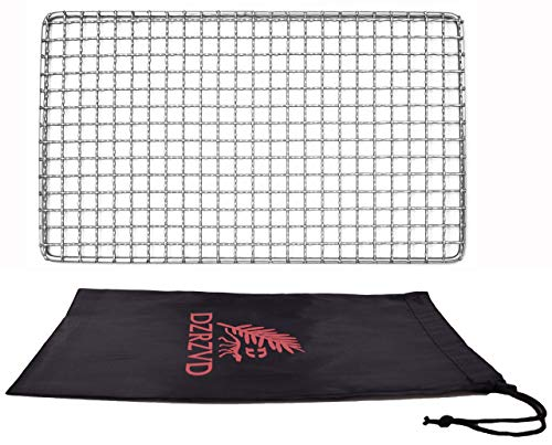 """DZRZVD-The Bushcraft Backpacker's Grill Grate - Welded Stainless Steel Mesh (Upgrade Camping Fire Rated)-7.48""""X12.6"""""""