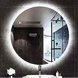 HZWLF Espejo de vanidad Retroiluminado Montaje en Pared Cuarto de baño Dormitorio Espejo con luz LED Redondo Espejo de Maquillaje Moderno sin Marco 12v Tira de luz de Seguridad