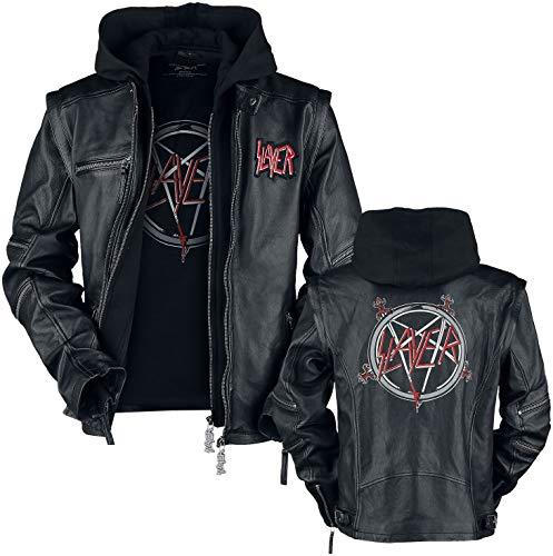 Slayer Pentagram Männer Lederjacke schwarz L 100% Leder Band-Merch, Bands