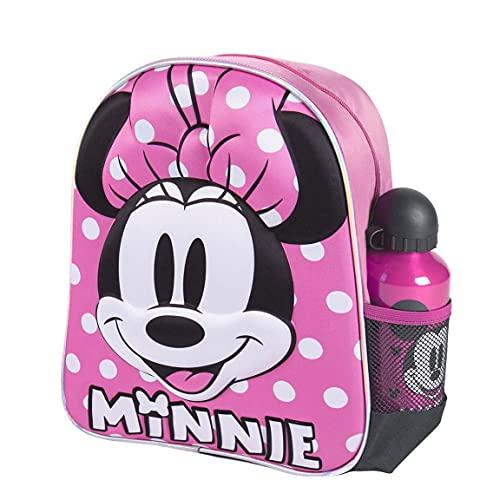CERDÁ LIFE'S LITTLE MOMENTS 2100003589, Zaino per Bambini con Bottiglia d'Acqua di Minnie Mouse-Licenza Ufficiale Disney, Rosso, Mochila recomendada para Niños 3-6 Anni, en edad de preescolar