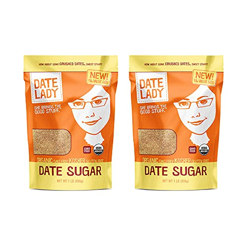 Organic Date Sugar, 1 lb   100% Whole Food   Vegan, Paleo, Gluten-free & Kosher   100% Ground Dates   Sugar Substitute and Alternative Sweetener for Baking   Contains Fiber from the Date (2 Bags)