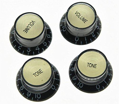Botón Kaish para reflector de guitarra, en negro, con tapa superior dorada, para Epiphone Les Paul SG (4 unidades)