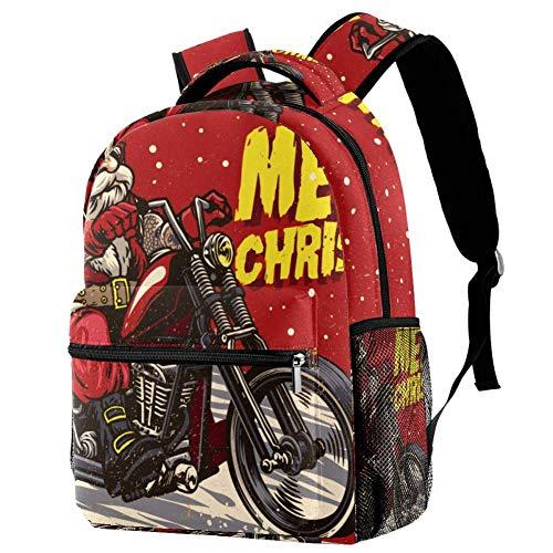 LORVIES Senior Biker Wear Santa Claus Kostuum Riding Chopper Motor Casual Rugzak Schouder Rugzak Boekentas voor Schoolstudenten Reistassen