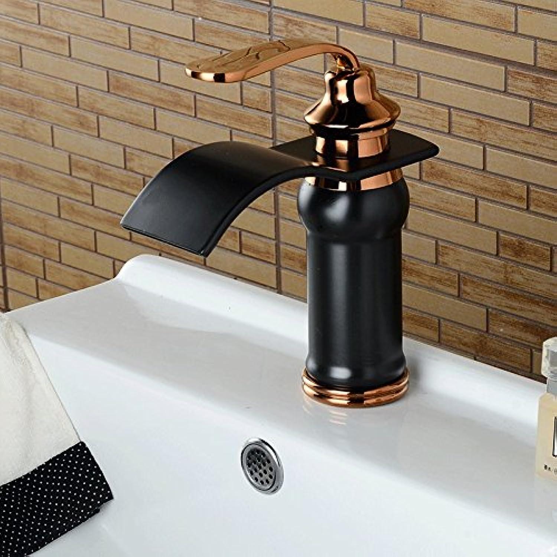 QUSLT Waterfall Faucet golden Faucet Basin Cold Hot Tap Bathroom Faucet