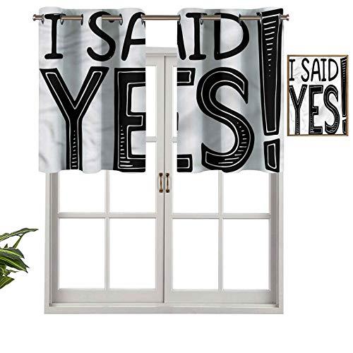 """Hiiiman Cortinas cortas, con cenefa, protección de privacidad, texto en inglés """"I Said Yes Cote, juego de 2, 137 x 60 cm, cortinas para ventana, baño, cocina, sala de estar"""