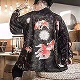 WJCRYPD Kimono Japanese Cardigan, Kimono, Sunscreen, Men's Hanfu, Robe, 3/4 Sleeve Shirt-Blood Crow Kimono for Men SurongL (Color : Goldfish Kimono, Size : XL)