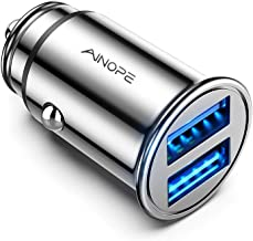 AINOPE Car Charger, 4.8A All Metal Car Charger Adapter Dual USB Port Fast Car Charging Mini Flush Fit Compatible with iPhone Xs max/XR/x/7/6s, iPad Air 2/Mini 3, Note 9/Galaxy S10/S9/S8 – Silver