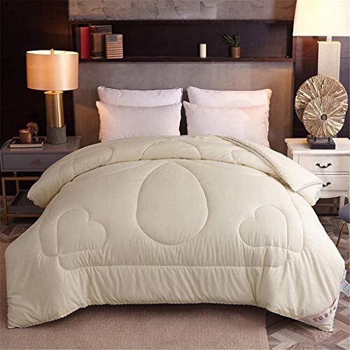 XFENG Thick Comforter Duvet Cotton - Winter Warm Duvet Core, Brushed Embossed Silkworm Silk Quilt - Spring and Autumn Gift Quilt, Single Double Bed (Color : Beige, Size : 200x230cm (3kg))