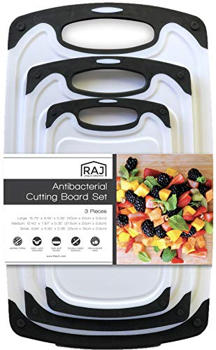 Raj Plastic Cutting Board Reversible Cutting board, Dishwasher Safe, Chopping Boards, Juice Groove, Large Handle, Non-Slip, BPA Free, FDA Approved (Set of Three, Black)
