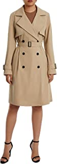 Women Long Trench Coat with Belt Double-Breasted Solid Colour Lapel Collar Windbreaker Jacket Spring Autumn Coat S-XL
