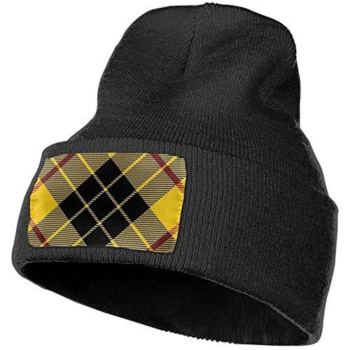 Estilo escocés Clan Macleod of Lewis Tartan Plaid Negro Unisex Gorro de Punto Gorro de Calavera Liso con puños Cálido Beanie Headwear