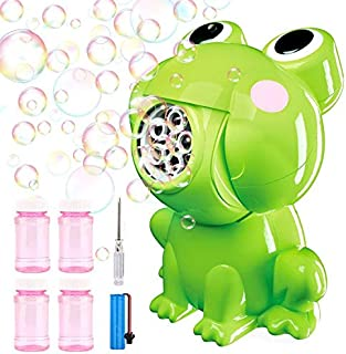 Blasland Bubble Machine - Upgraded Rechargeable Frog Bubble Blower with 4×Bubble Solutions & Battery, 2000+ Bubbles/Min, Bubble Toys for Kids Boys Girls Toddlers, Bubble Maker for Indoor Outdoor