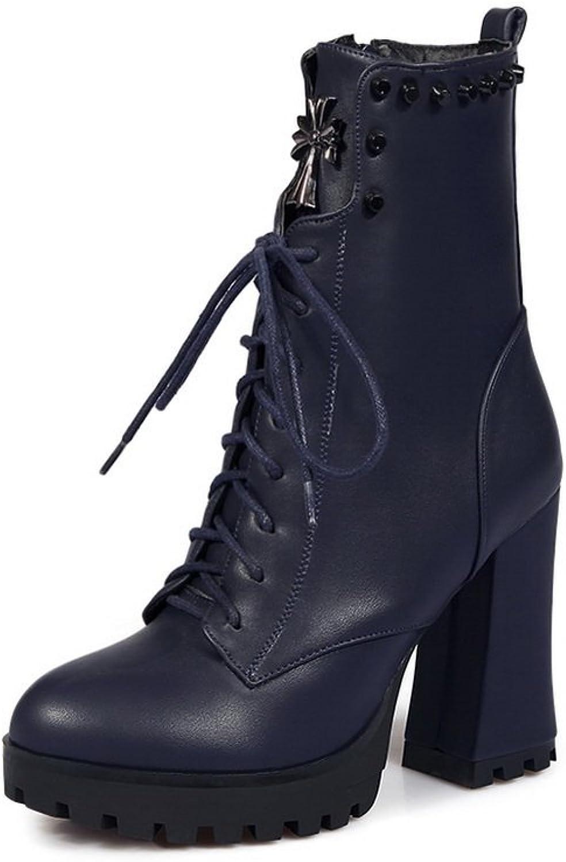 b750282fd3 AdeeSu Womens Fashion Riding Boots Platform Lace-Up Imitated Leather Boots