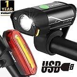 Yabife USB Rechargeable Bike Light Set, Super Bright Bicycle Headlight and Tail Light