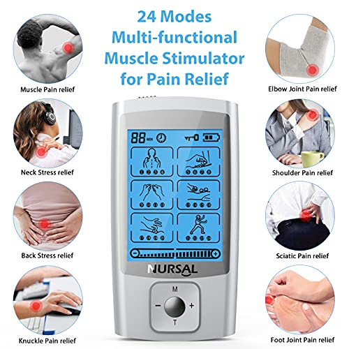 NURSAL 24 Modes TENS Unit Muscle Stimulator with Continuous Stimulation, Rechargeable Electronic Pulse Massager with 8 Pads for Back and Shoulder Pain Relief and Muscle Strength