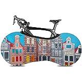 Cubierta de Rueda de Bicicleta, Cubierta de Bicicleta - Vista a la Ciudad del Canal de Amsterdam Casas y Barcos típicos holandeses Holanda Países Bajos
