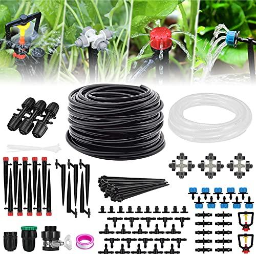 Garten Bewässerungssystem,40M+3M Schlauch Tröbewässerungssystem mit Einstellbar Sprinkler Sprühgerät und Tropfer, Bewaesserung Kit für Garten, Ewächshäuser, Gartenpflanzen, Zerstäubungskühlung