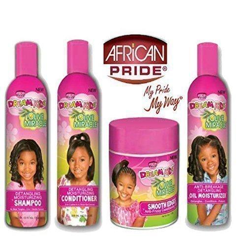 African Pride Traum Kinder Olive Wunder Entwirren Feuchtigkeitsspendende Set mit 4 Produkte