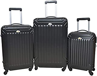 New Travel Solid Luggage Trolley Bag, 4 Wheels, 3 Pieces - Black