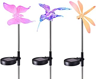 Homemory Set of 3 Solar Garden Lights Outdoor Decorative, Solar-Powered Hummingbird Lights, Dragonfly Lights, and Butterfly Lights, Color Changing, Rechargeable and Wireless Solar Garden Stakes
