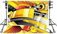 HDミュージックステージの背景アコースティックイエロー写真の背景10X7ftをテーマにしたパーティーフォトブースYouTubeの背景PMT554