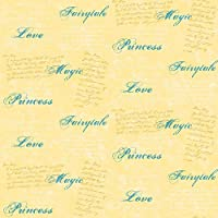 Imperial Disney Home DF059613 Princess Script Wallpaper, Yellow, 20.5-Inch Wide [並行輸入品]