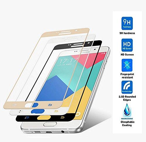 Protector de Pantalla Completa para Samsung Galaxy A3 2016 A310 de Dureza de 9H sin Burbujas ( Dorado ) .Full Cover Samsung Galaxy A3 2016 A310 Cristal Vidrio Templado Premium de Cobertura Completa con Bordes Redondeados.