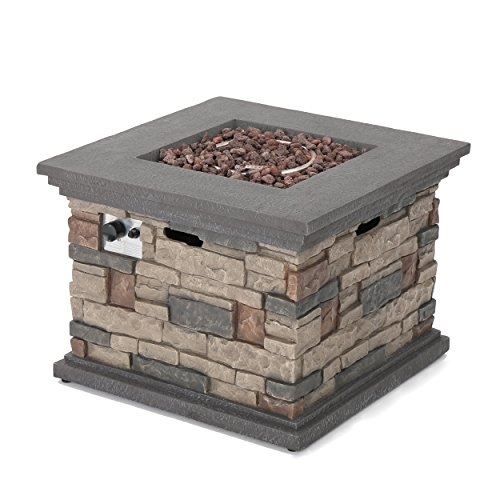 Christopher Knight Home 296587 | Crawford | Outdoor Square Propane Fire Pit with Stone