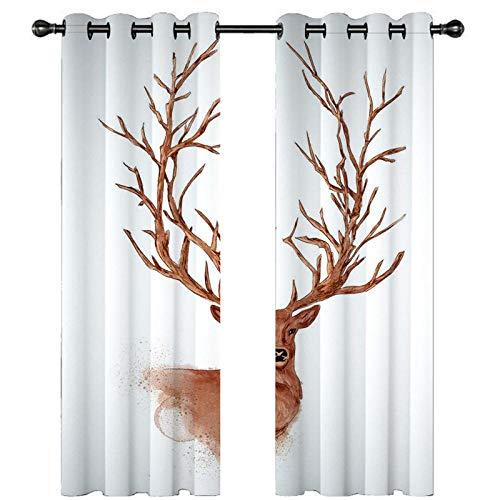 CLYDX Blickdicht Gardinen Longhorn Tierhirsch 100% Polyester Verdunkelungsvorhang Lärm Reduzieren Geeignet für Wohnzimmer Schlafzimmer Kinderzimmer 2 * 75 x 166 cm