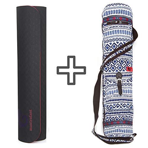 mantrafant Guru Elite Yogamatte mit Tasche   vegan und schadstofffrei   XL Yoga Set Eco   nachhaltig aus Naturmaterial Öko TPE